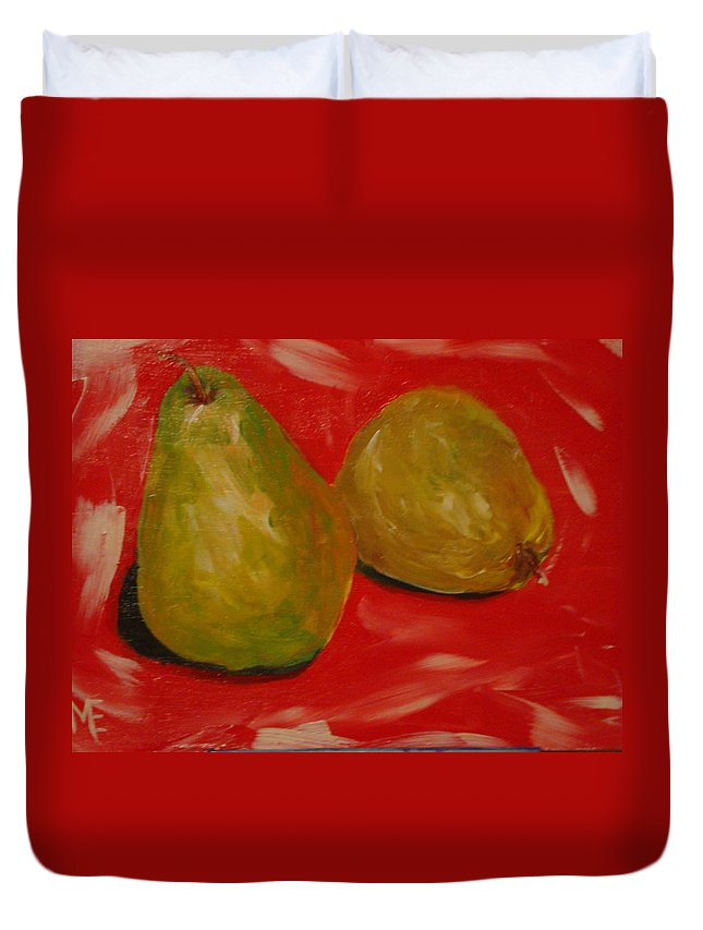 Pears Duvet Cover featuring the painting Pair Of Pears by Melinda Etzold