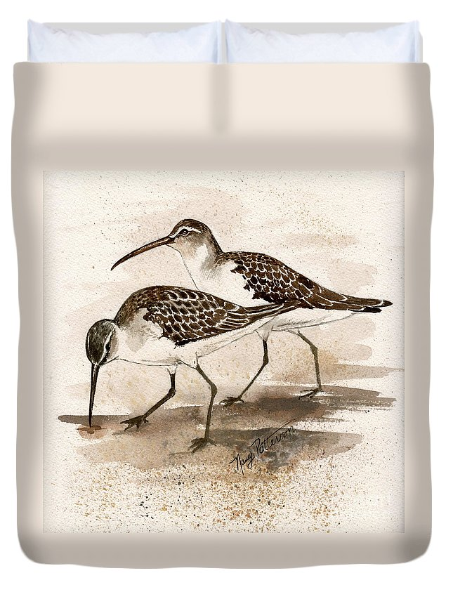 Sandpipers Duvet Cover featuring the painting Pair Of Sandpipers by Nancy Patterson