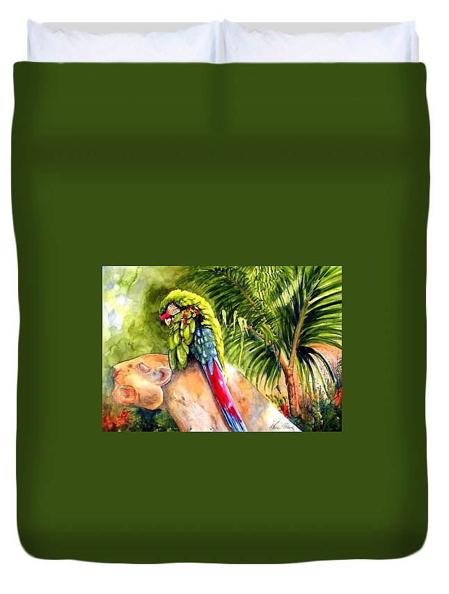 Parrot Duvet Cover featuring the painting Pajaro by Karen Stark