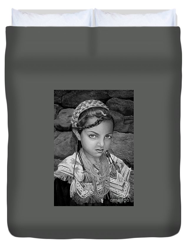 People Portraits Duvet Cover featuring the painting Pakistani Girl by Portraits By NC
