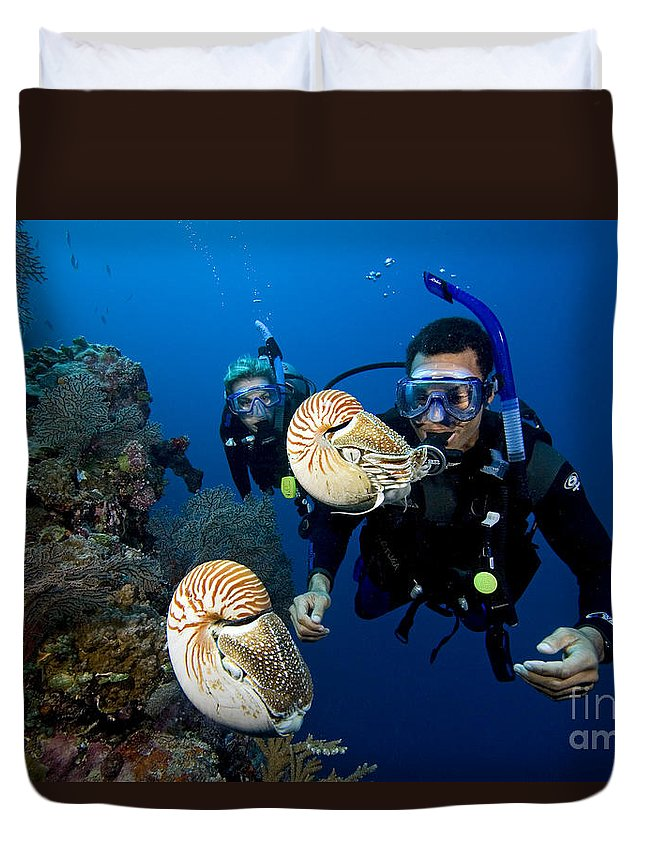 Adventure Duvet Cover featuring the photograph Palau Underwater by Dave Fleetham - Printscapes