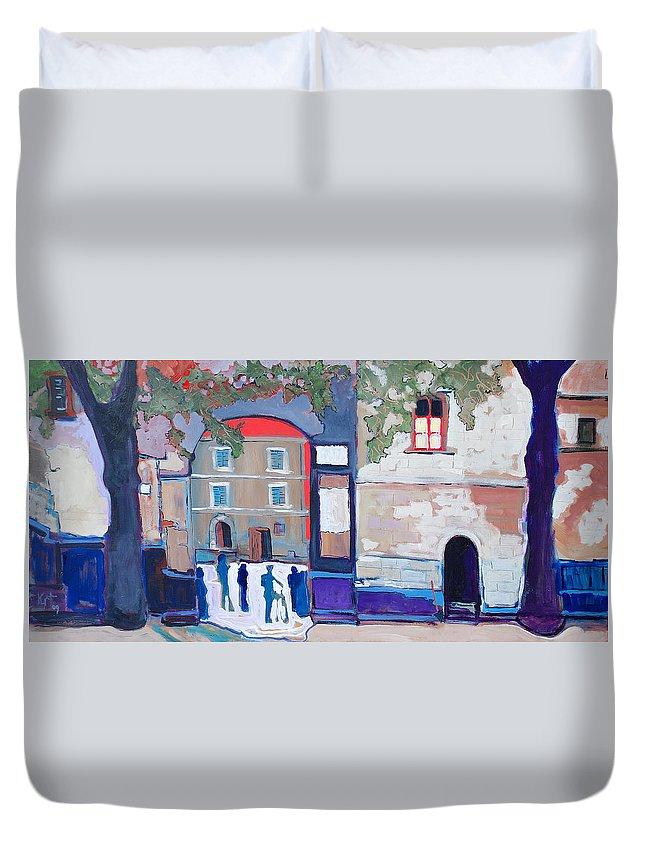 Village Duvet Cover featuring the painting Palazzo Di Villafranca by Kurt Hausmann