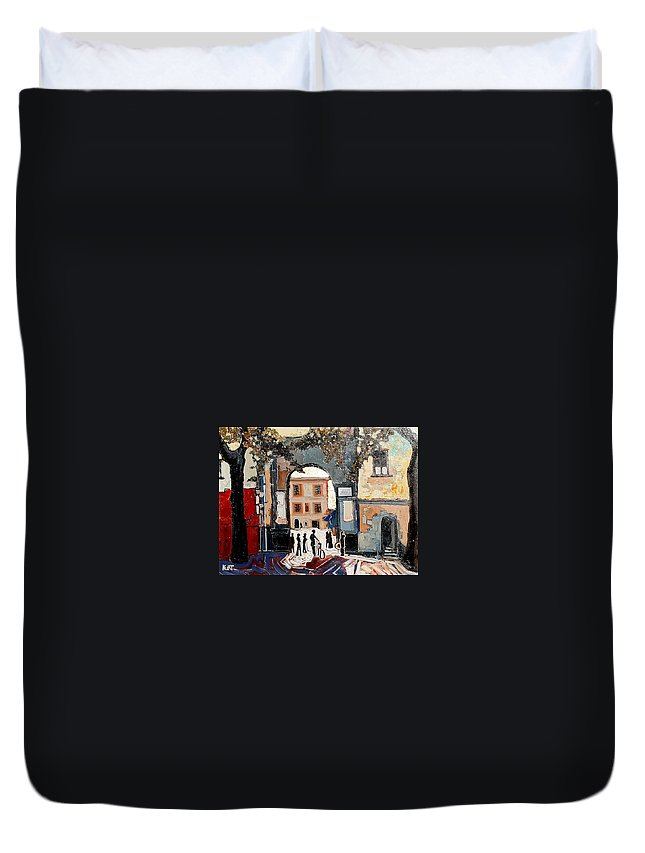 Tuscany Duvet Cover featuring the painting Palazzo Vecchio by Kurt Hausmann