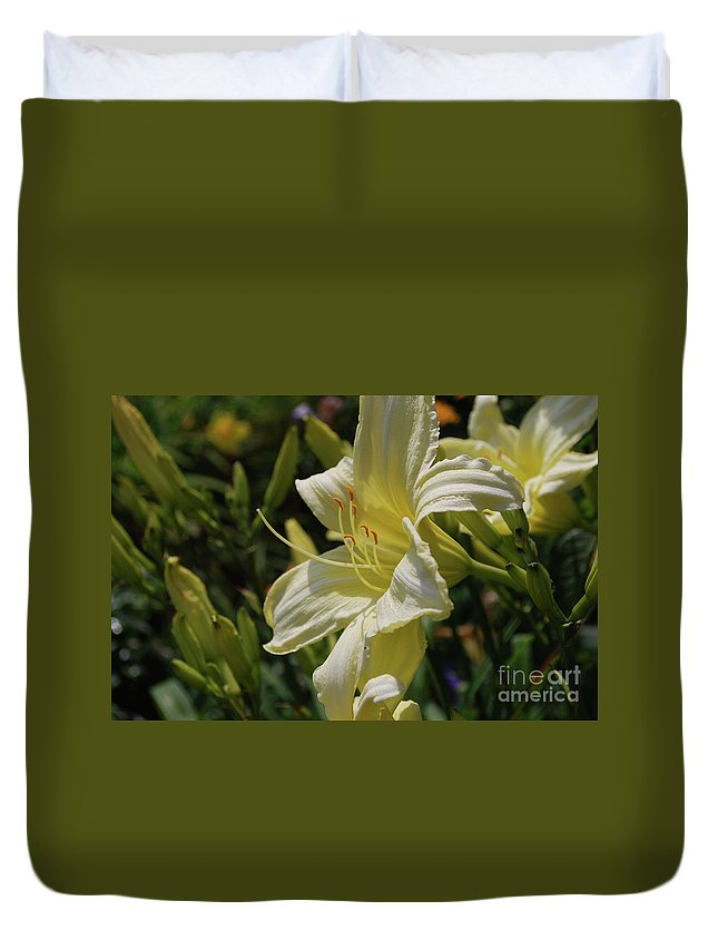 Lily Duvet Cover featuring the photograph Pale Yellow Lily In A Garden Of Daylilies by DejaVu Designs