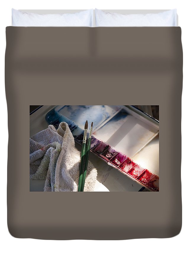 Palette Duvet Cover featuring the photograph Palette by Donna Walsh