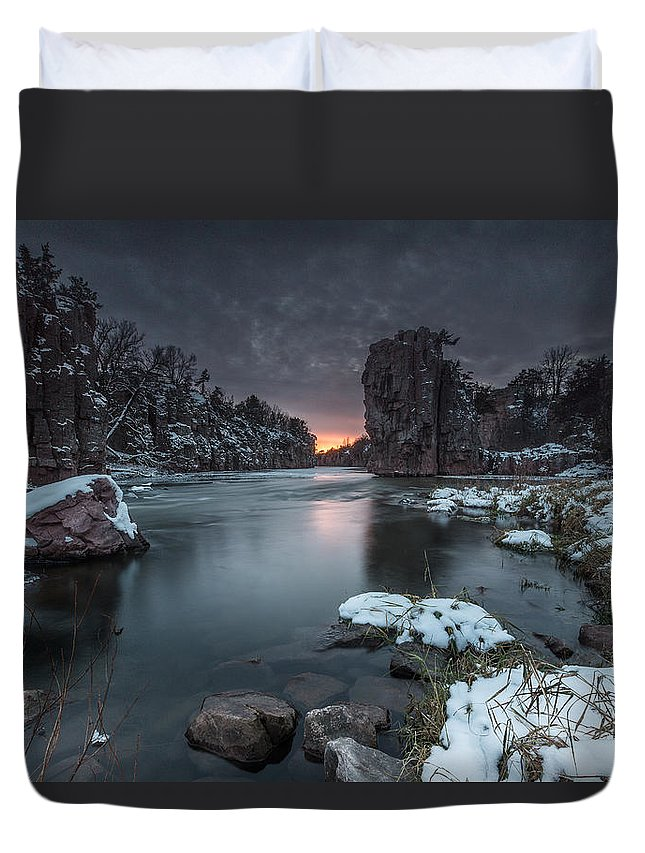 Sunset Duvet Cover featuring the photograph Palisades First Snow by Aaron J Groen