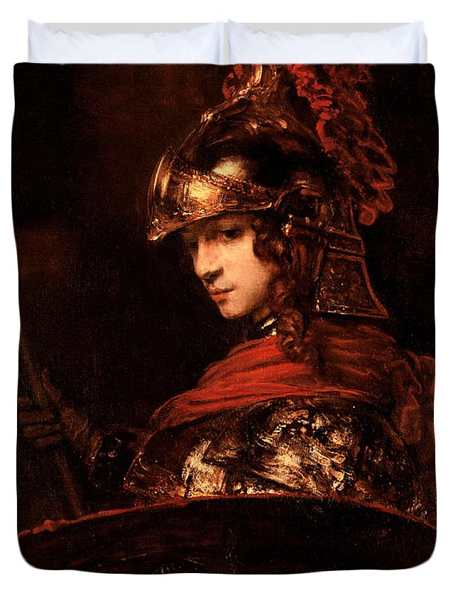 Pallas Duvet Cover featuring the painting Pallas Athena by Rembrandt