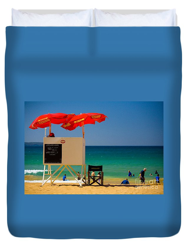Palm Beach Sun Sea Sky Beach Umbrellas Duvet Cover featuring the photograph Palm Beach Dreaming by Sheila Smart Fine Art Photography