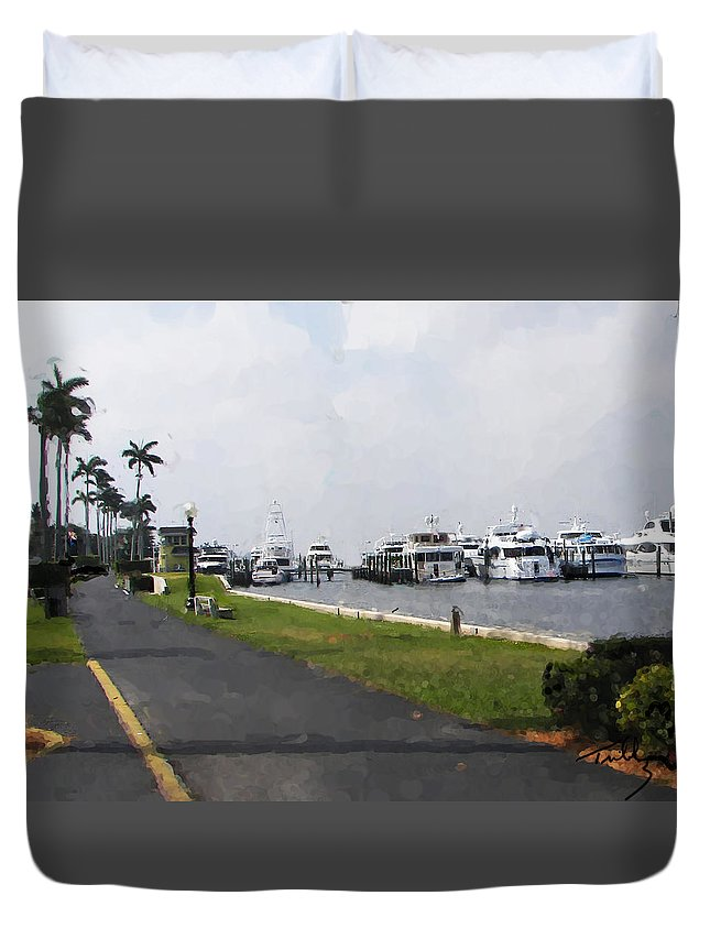 Landscape Duvet Cover featuring the painting Palm Beach Marina by Thomas Tribby
