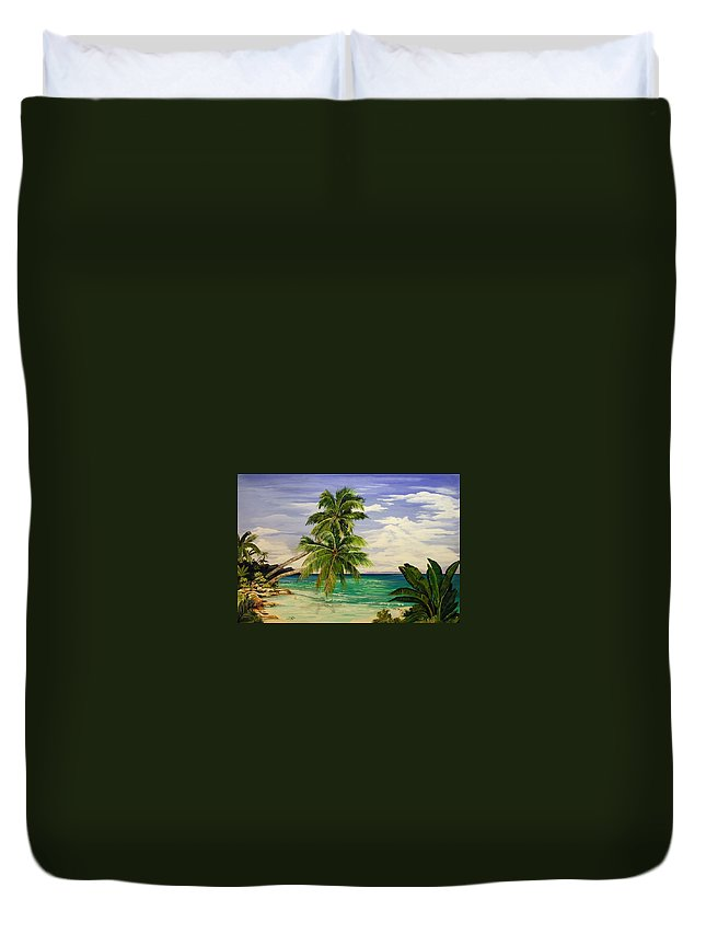 Palm Duvet Cover featuring the painting Palm Beach by Stephen Broussard