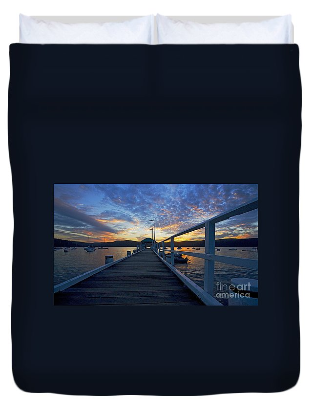 Palm Beach Sydney Wharf Sunset Dusk Water Pittwater Duvet Cover featuring the photograph Palm Beach Wharf At Dusk by Sheila Smart Fine Art Photography