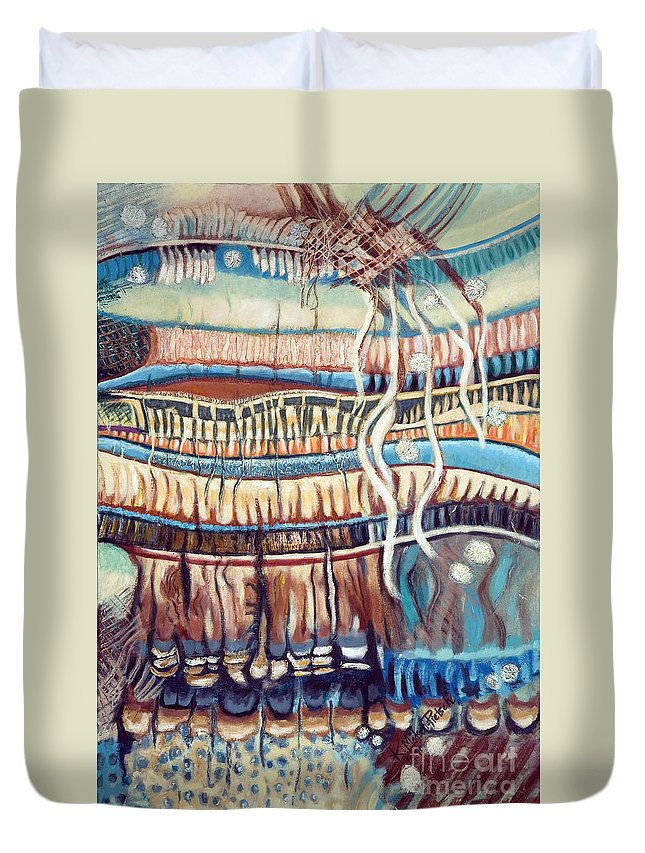 Abstract Duvet Cover featuring the painting Palm Contractions by Kerryn Madsen-Pietsch