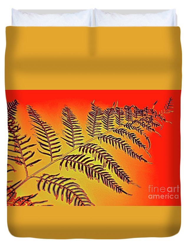 Palm Frond In The Summer Heat Duvet Cover featuring the photograph Palm Frond In The Summer Heat by Kaye Menner