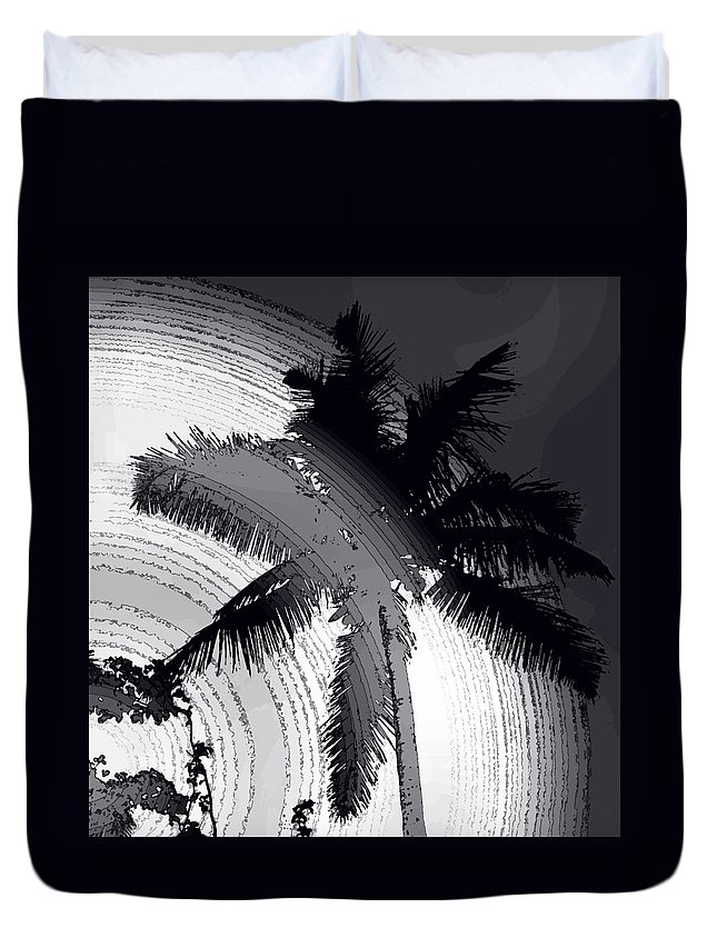 Palm Duvet Cover featuring the photograph Palm In Grey by Ian MacDonald