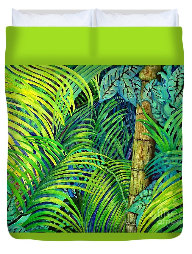 Trees Duvet Cover featuring the painting Palm Leaves by Caroline Street