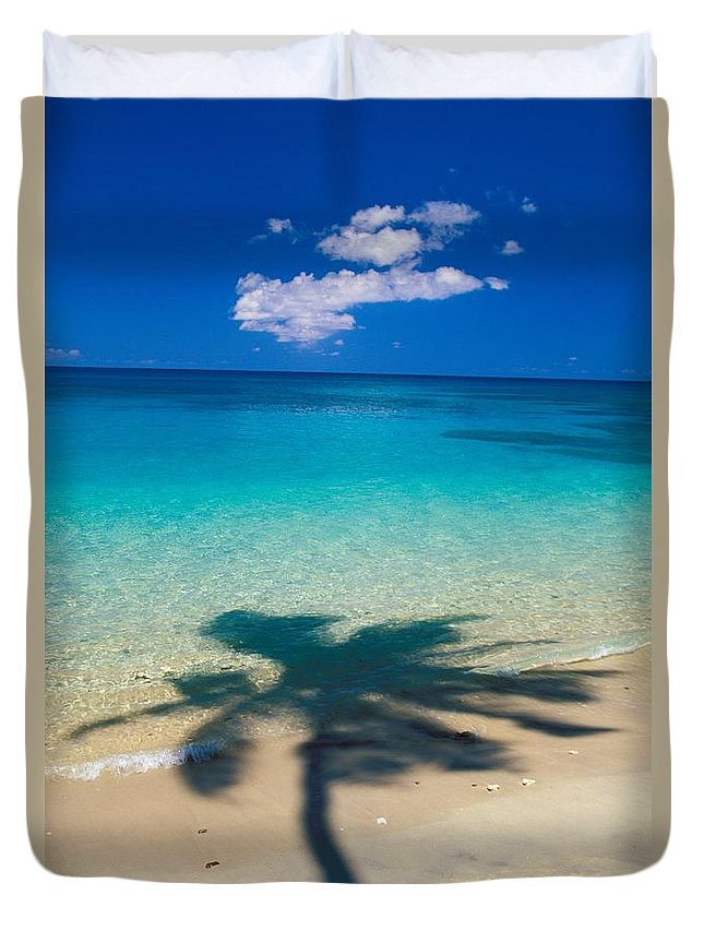 Aqua Duvet Cover featuring the photograph Palm Shadows by Ron Dahlquist - Printscapes