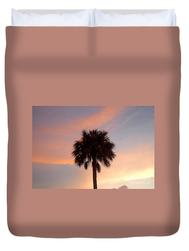 Palm Tree Duvet Cover featuring the photograph Palm Sky by David Lee Thompson