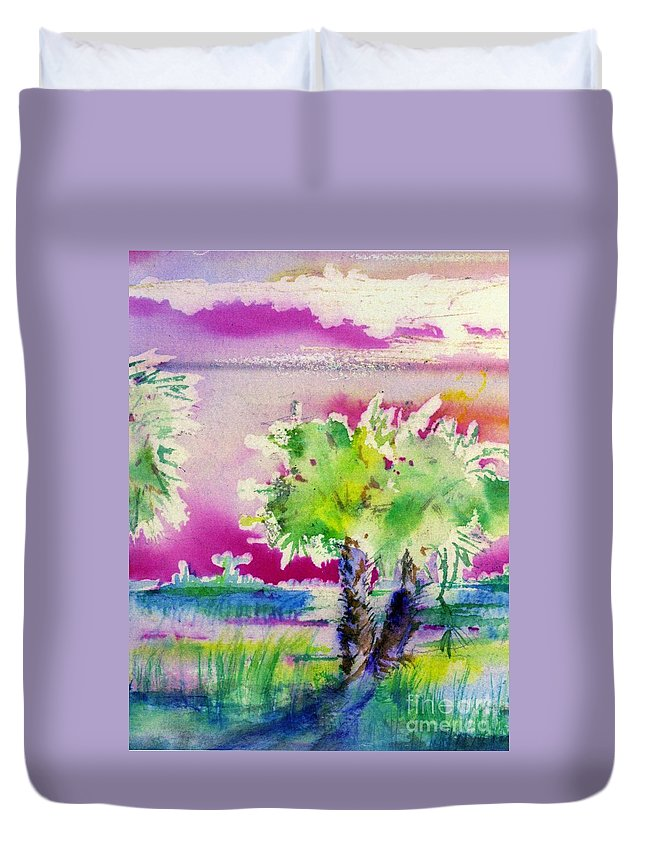 Seascape Duvet Cover featuring the painting Palm Sunrise by Carliss Prosser