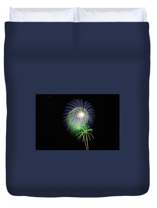 Fireworks Duvet Cover featuring the photograph Palm Tree Fireworks by Connor West