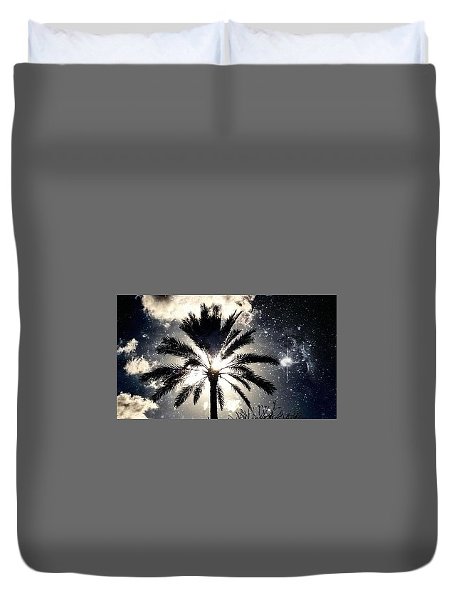 Duvet Cover featuring the digital art Palm Tree In The Sun #3 by Alfred Blaho