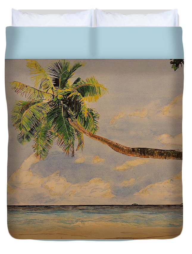 Palm Tree Duvet Cover featuring the painting Palm Tree by Michelle Miron-Rebbe
