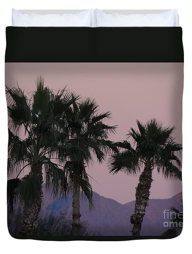 Palm Duvet Cover featuring the photograph Palm Trees And Mountains At Sunset #1 by Jim Williams Jr