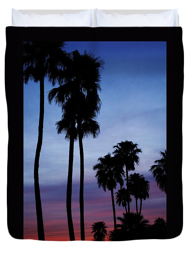 Palm Trees Duvet Cover featuring the photograph Palm Trees At Sunset by Jill Reger