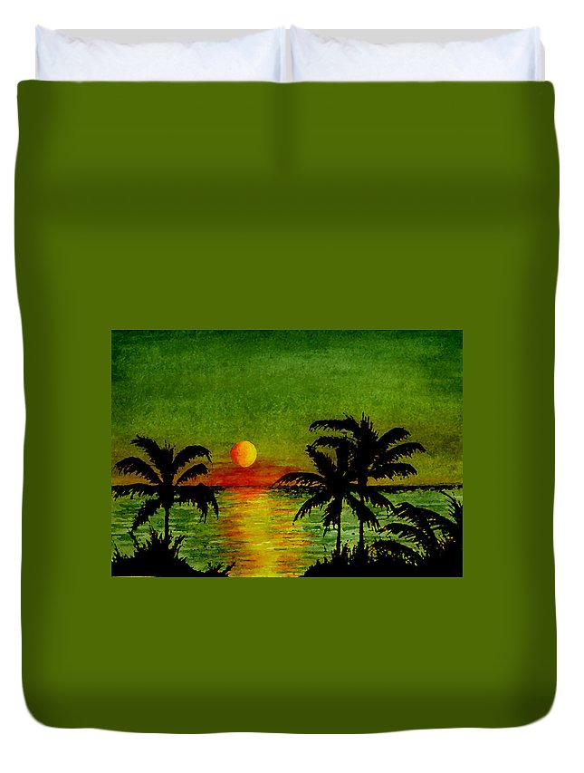 palm Tree Duvet Cover featuring the painting Palm Trees Setting Sun by Michael Vigliotti