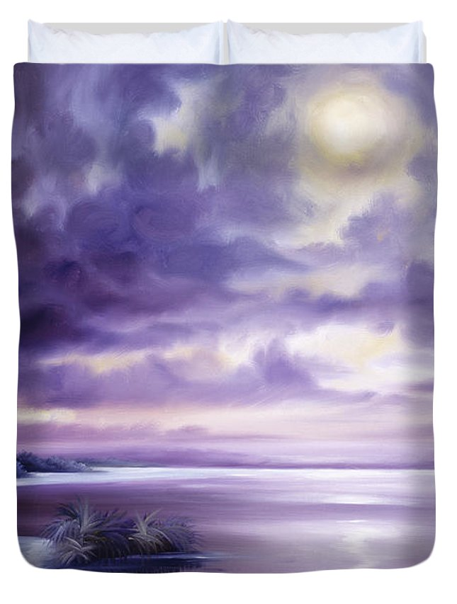 Moon Duvet Cover featuring the painting Palmetto Moonscape by James Christopher Hill