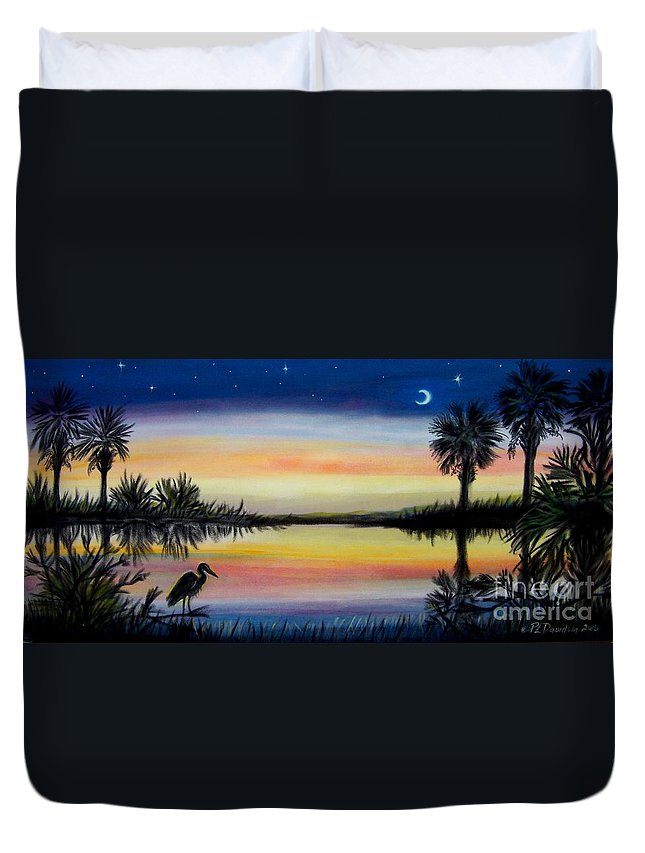 Palmetto Night Duvet Cover featuring the painting Palmetto Tree And Moon Low Country Sunset by Patricia L Davidson