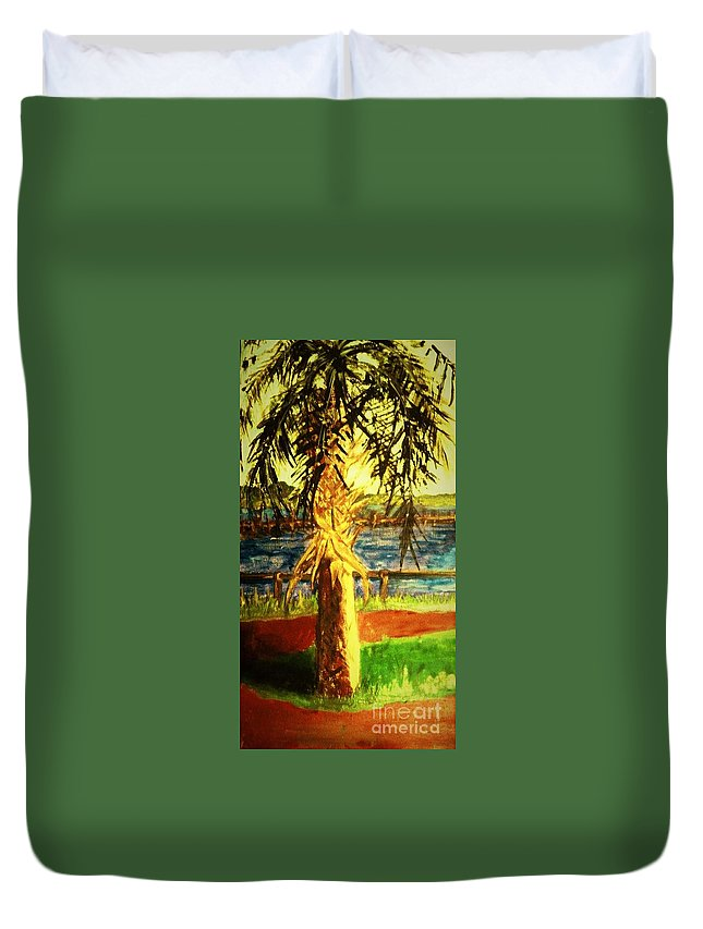 Palms Duvet Cover featuring the painting Palmetto Tree by Carliss Prosser