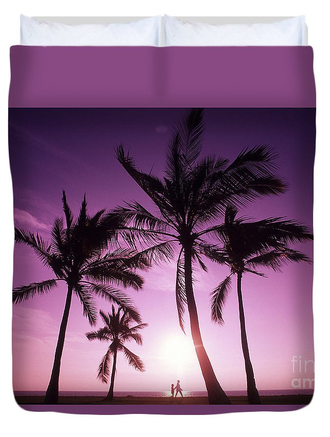 Adult Duvet Cover featuring the photograph Palms And Pink Sunset by Carl Shaneff - Printscapes