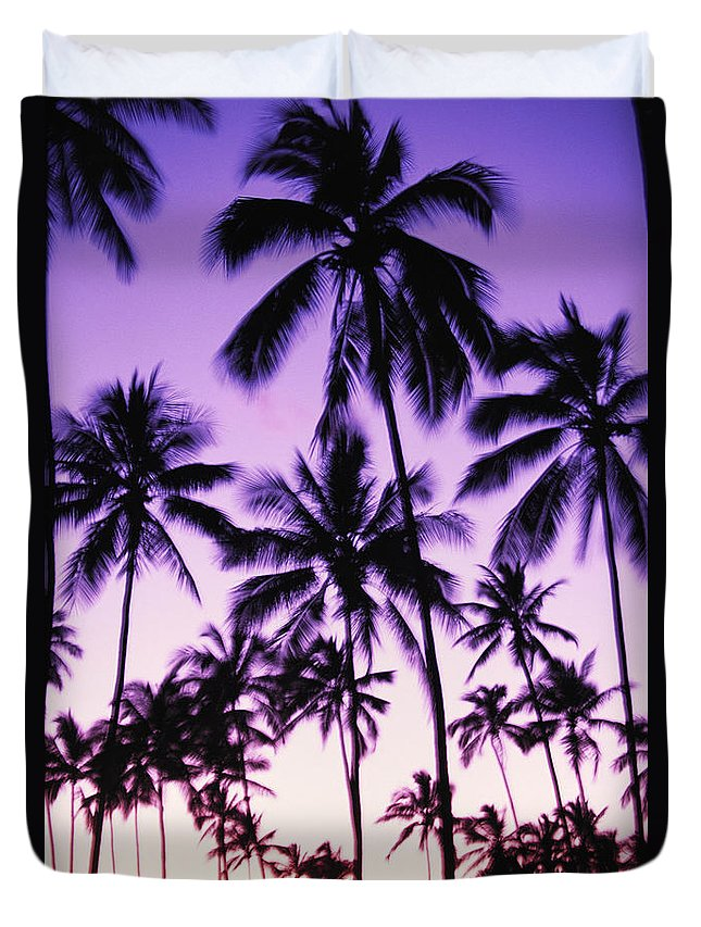 Afternoon Duvet Cover featuring the photograph Palms And Purple Sky by Ron Dahlquist - Printscapes