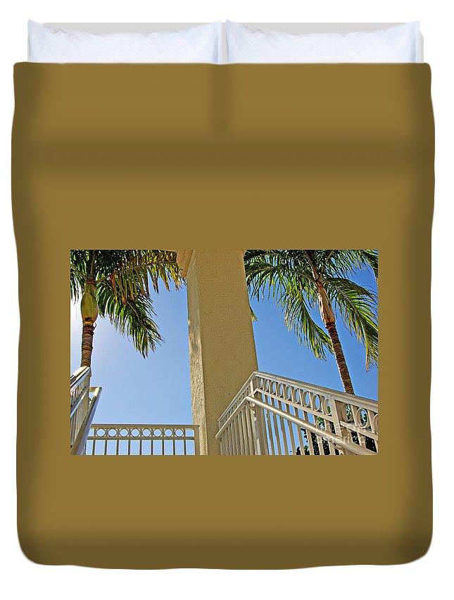Palm Duvet Cover featuring the photograph Palms And Stairs by Zal Latzkovich