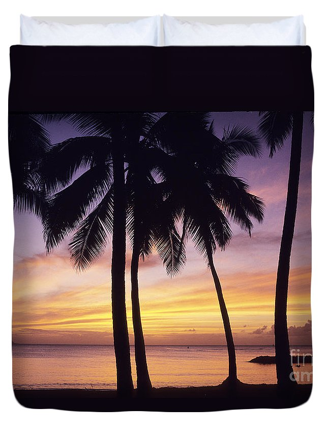 Beach Duvet Cover featuring the photograph Palms And Sunset Sky by Carl Shaneff - Printscapes