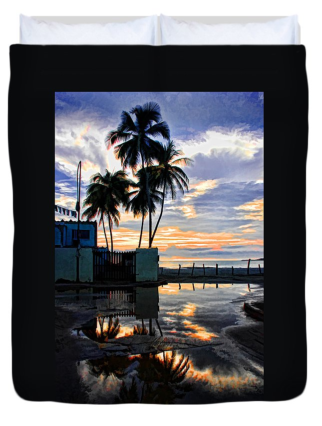 Palms Duvet Cover featuring the photograph Palms And Sunshine by Galeria Trompiz