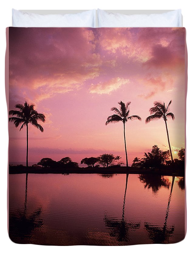 Beach Duvet Cover featuring the photograph Palms At Still Lagoon by Carl Shaneff - Printscapes