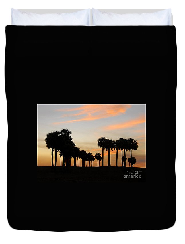Palm Trees Duvet Cover featuring the photograph Palms At Sunset by David Lee Thompson