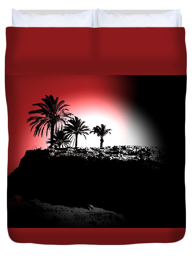 Palms Duvet Cover featuring the photograph Palms Black White Red by Gary Henderson