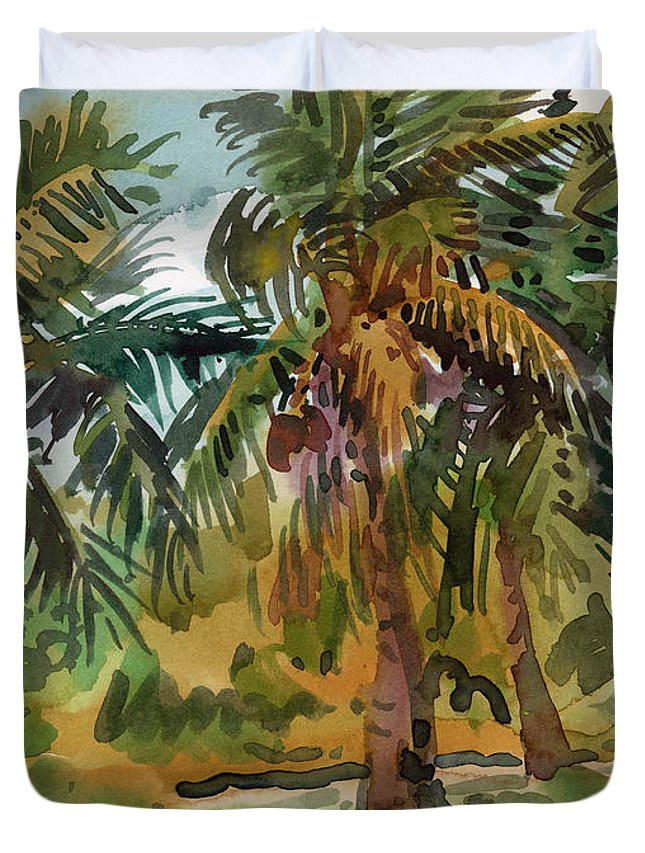 Palm Tree Duvet Cover featuring the painting Palms In Key West by Donald Maier