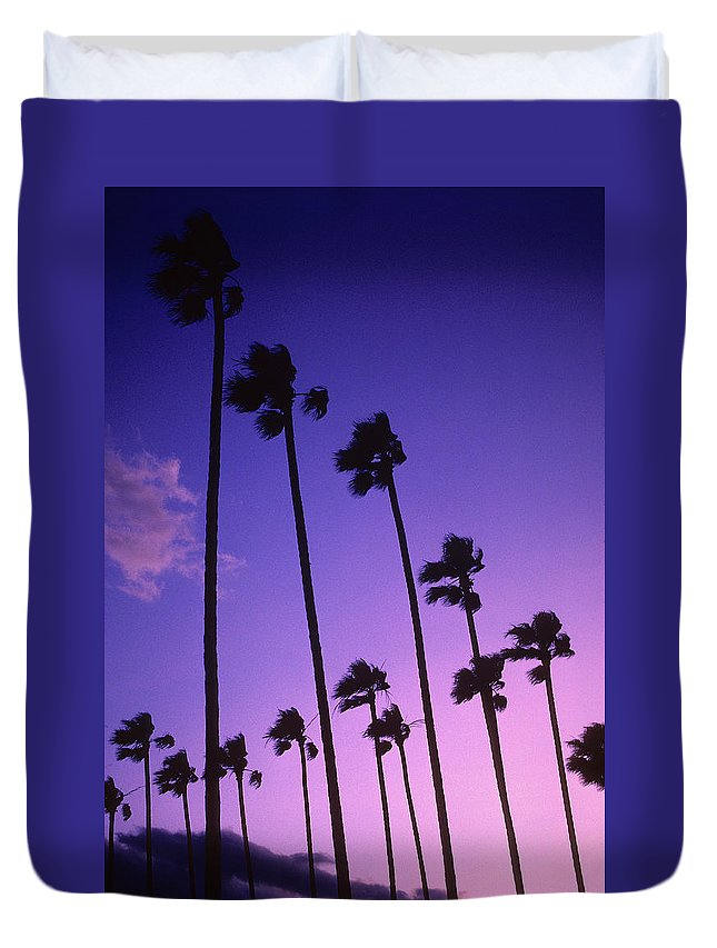 Palm Trees Duvet Cover featuring the photograph Palms by Steve Williams
