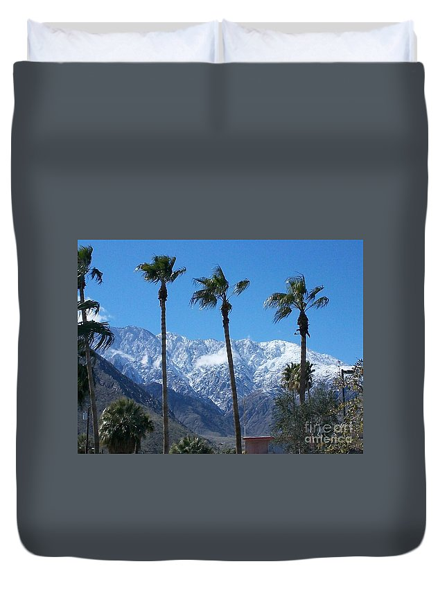 Palms Duvet Cover featuring the photograph Palms With Snow by Randall Weidner