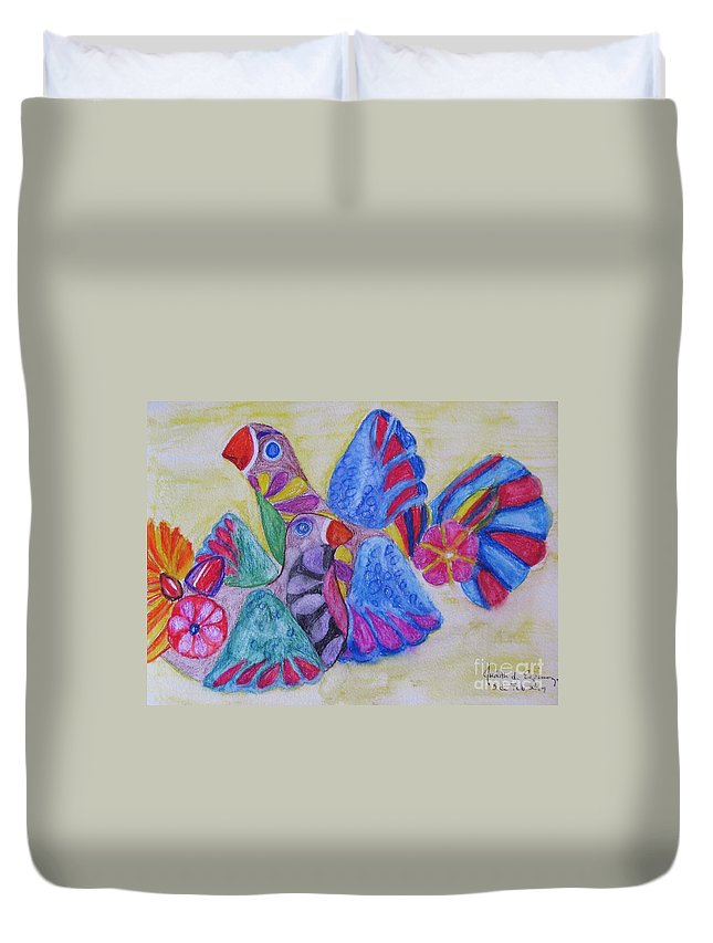 Bright Colors Duvet Cover featuring the painting Palomas - Gifted by Judith Espinoza