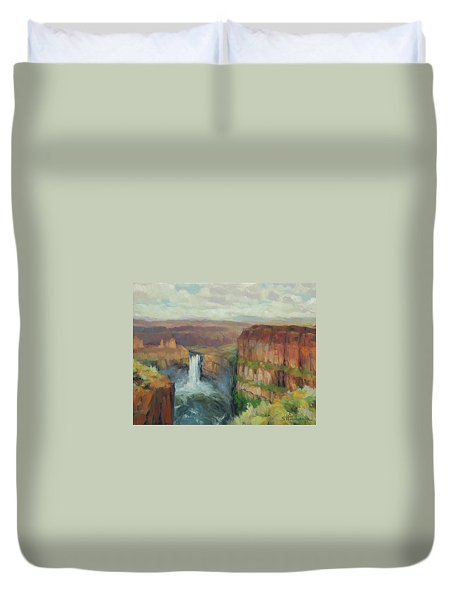 Waterfall Duvet Cover featuring the painting Palouse Falls by Steve Henderson