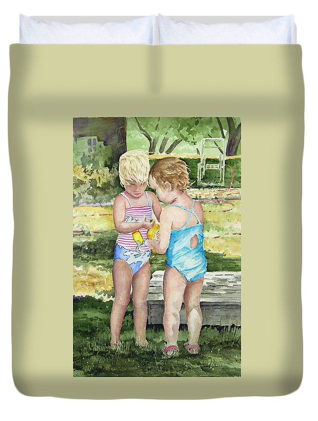 Children Duvet Cover featuring the painting Pals Share by Sam Sidders