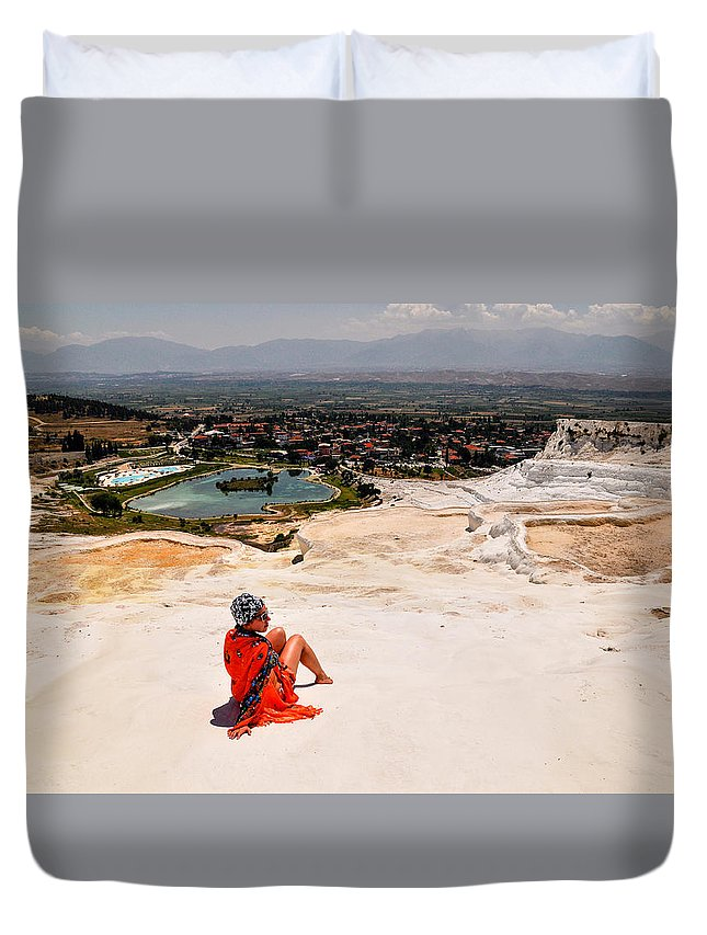 Pamukkale Duvet Cover featuring the photograph Pamukkale Cotton Castle by Freepassenger By Ozzy CG