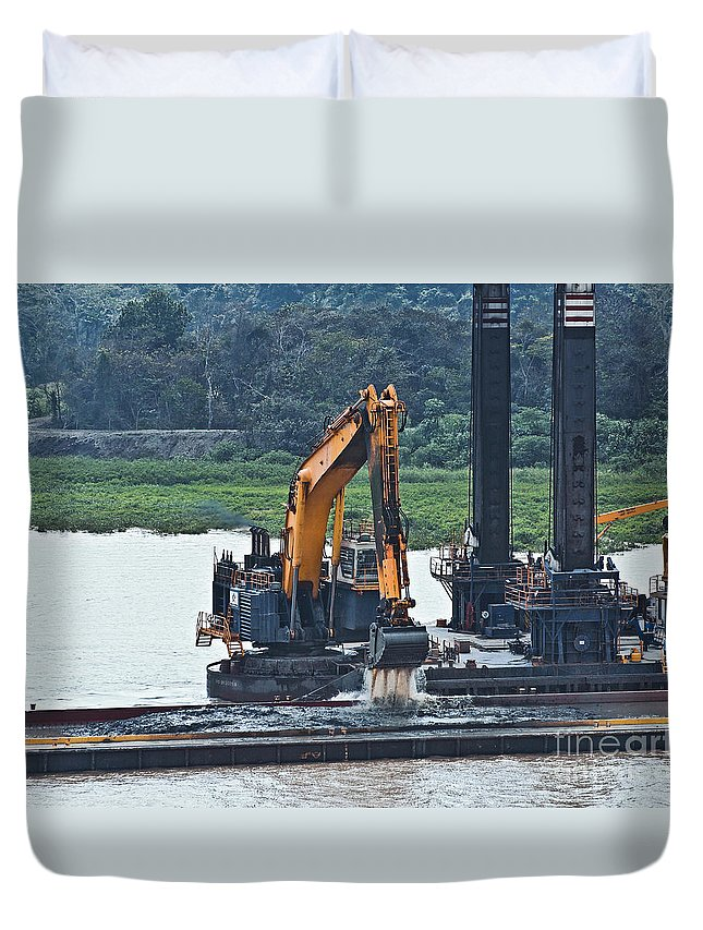 Barge Duvet Cover featuring the photograph Panama055 by Howard Stapleton