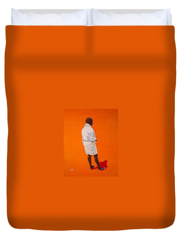 Lungi Duvet Cover featuring the painting Panche by Usha Shantharam