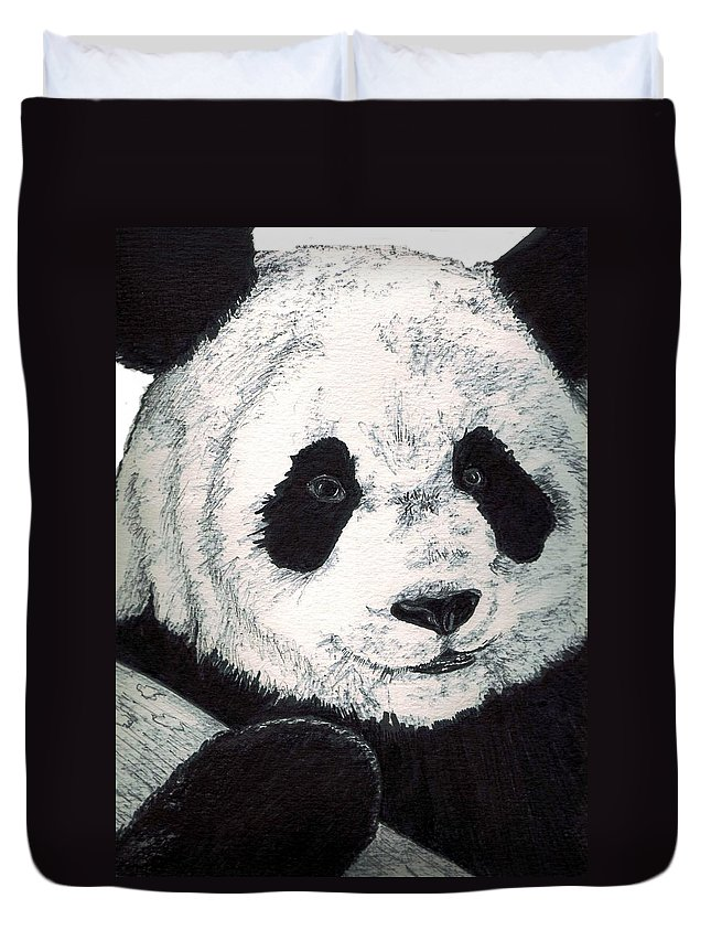 Panda Duvet Cover featuring the painting Panda by Debra Sandstrom