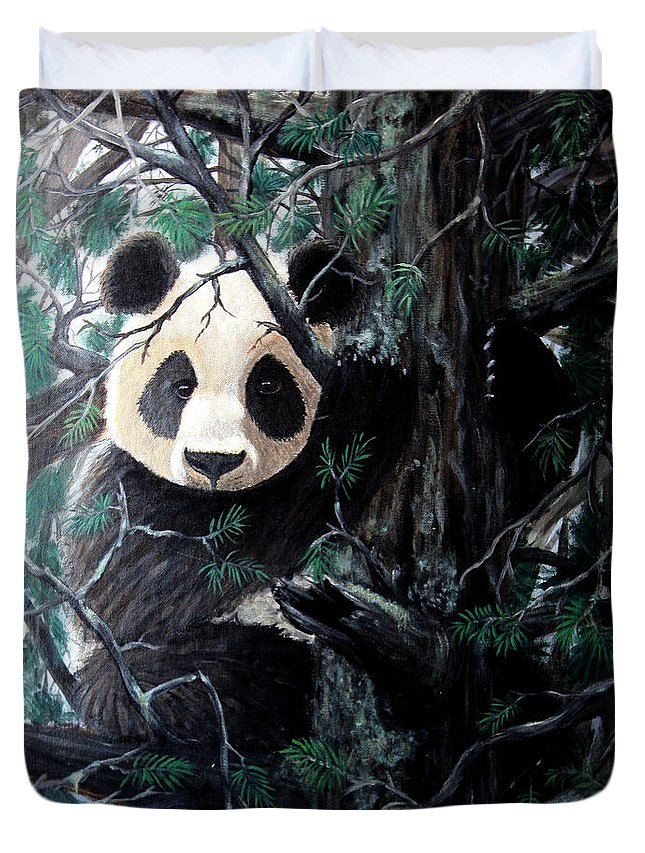 Animal Duvet Cover featuring the painting Panda In Tree by Nick Gustafson